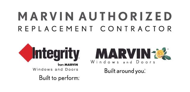 Marvin Authorized Replacement Contractor, featuring logos for both Integrity from Marvin, as well as Marvin Windows and Doors.