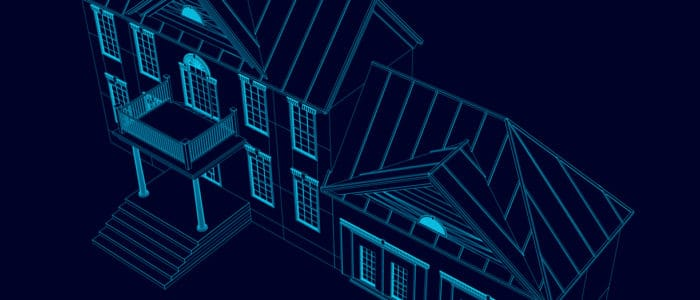 Wireframe of the house of the blue lines on a dark background. 3D Vector illustration